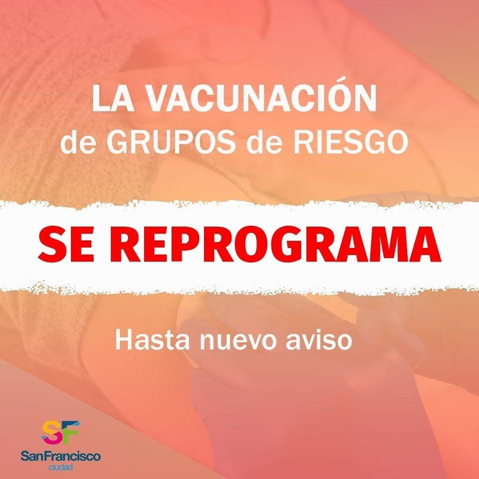 Se reprograma vacunación de Grupos de Riesgo