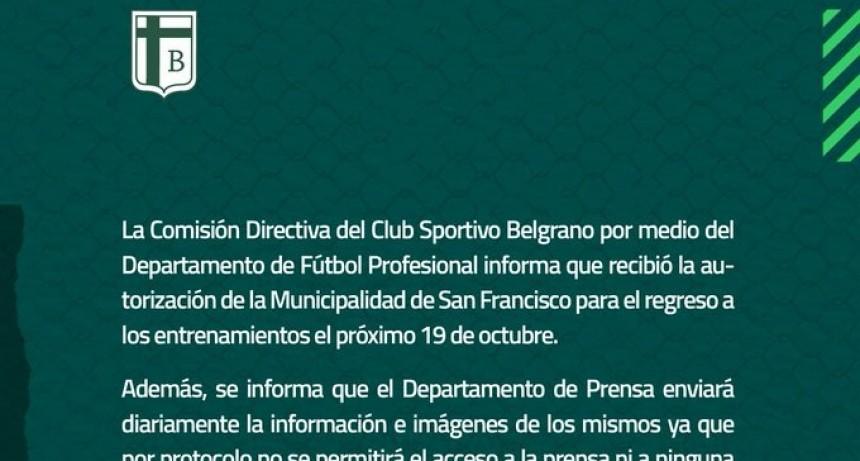 Sportivo Belgrano recibió la autorización y el próximo lunes vuelve a los entrenamientos